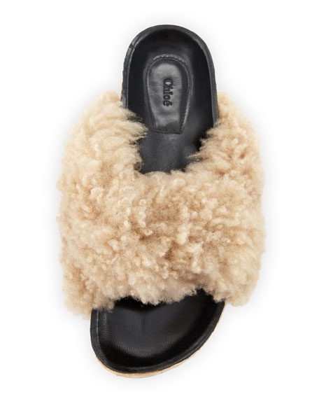 Shearling Fur Flat Slide Sandals, Fawn