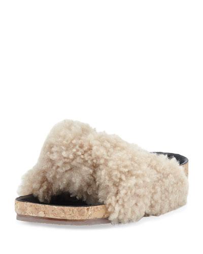 Shearling Fur Flat Slide Sandal, Fawn