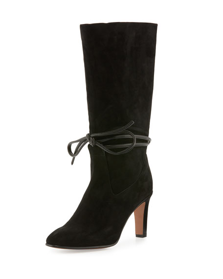 Chloe Ankle-Tie Leather Ankle Boot, Black