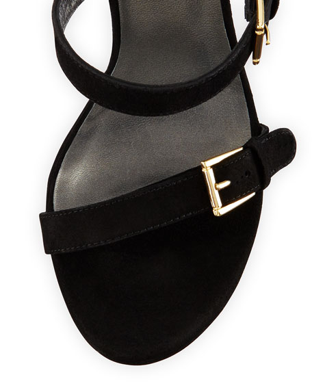 Stuart Weitzman Fourbucks Suede Platform Sandal, Black