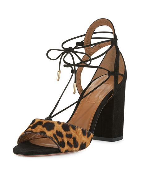 Aquazzura Austin Calf-Hair Lace-Up Sandal, Caramel Leopard