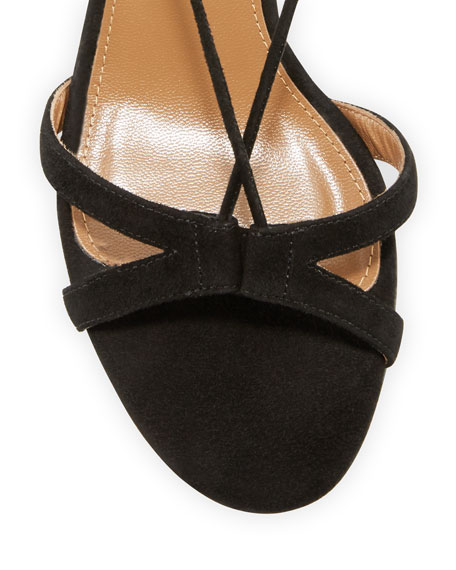 Beverly Hills Suede Lace-Up Sandal, Black