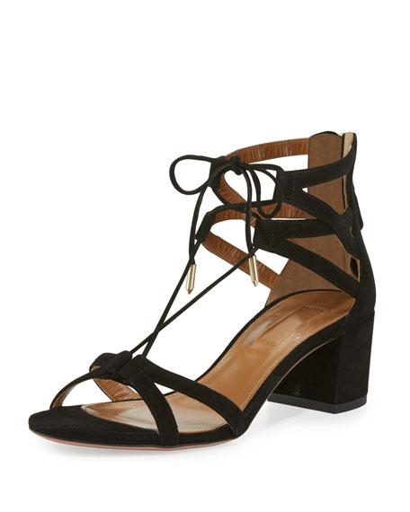 Aquazzura Beverly Hills Suede Lace-Up Sandal, Black