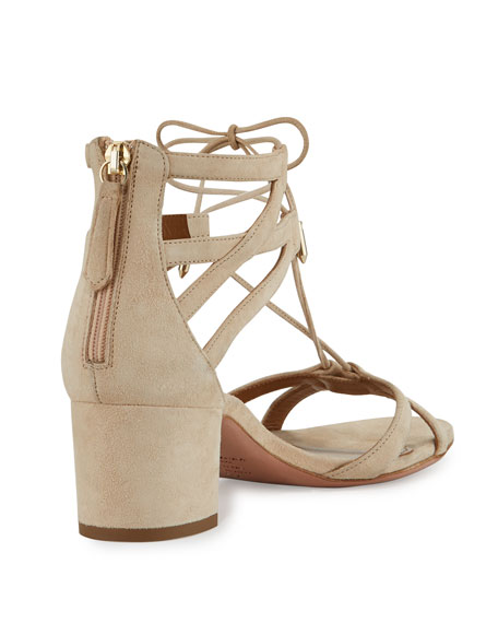 Beverly Hills 50mm Suede Lace-Up Sandal, Nude