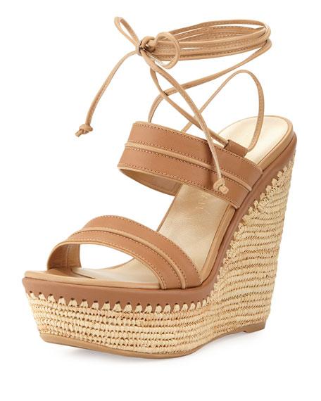 Stuart WeitzmanAbandon Leather Ankle-Wrap Wedge Sandal, Meil
