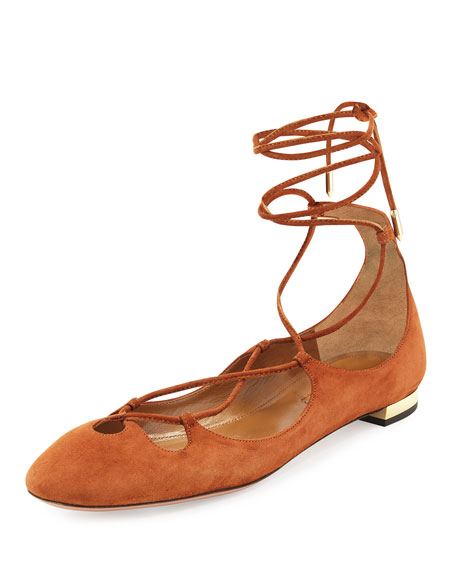 Aquazzura Dancer Suede Lace-Up Flat, Luggage