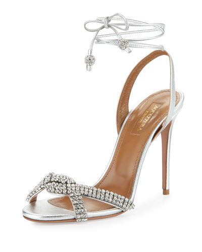 Dazzling Crystal Ankle-Wrap 105mm Sandal, Silver