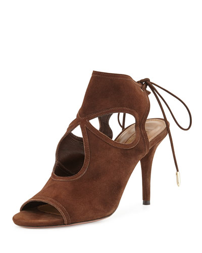 Sexy Thing Suede Cutout Sandal, Chocolate