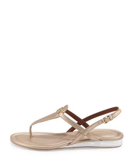 Violette II Leather T-Strap Sandal, Soft Gold