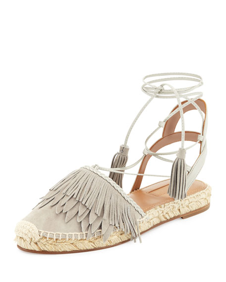 Aquazzura Fringe Suede & Leather Espadrille Flat, Light