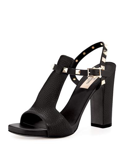 Rockstud Leather Chunky-Heel Sandal, Nero