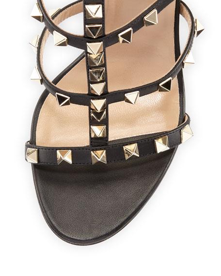 Rockstud Leather 105mm Sandal, Nero