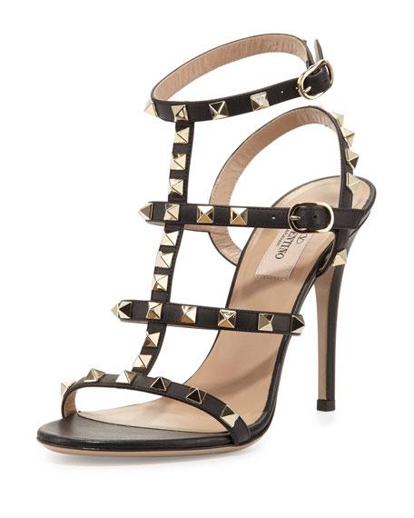 ValentinoRockstud Leather T-Strap 105mm Sandal, Nero