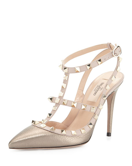 Valentino Rockstud Colorblock Leather Sandal, Sasso/Poudre