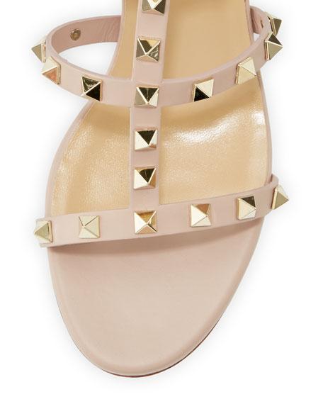 Valentino Garavani Rockstud Leather 60mm City Sandal, Poudre