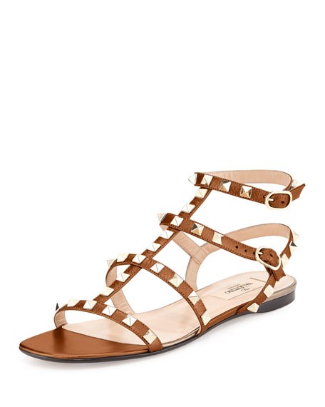 Valentino Rockstud Leather Flat Sandal, Light Cuir