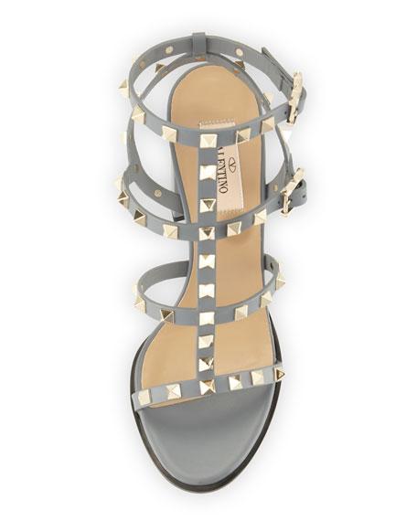 Rockstud Leather 90mm City Sandal, Light Stone