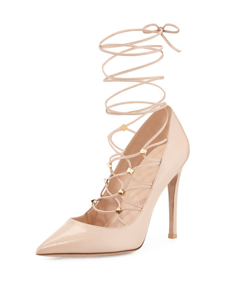 Valentino Rockstud Lace-Up Pointed-Toe Pump, Poudre