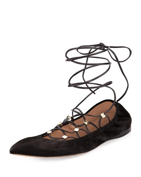 Valentino Rockstud Lace-Up Ballerina Flat, Nero