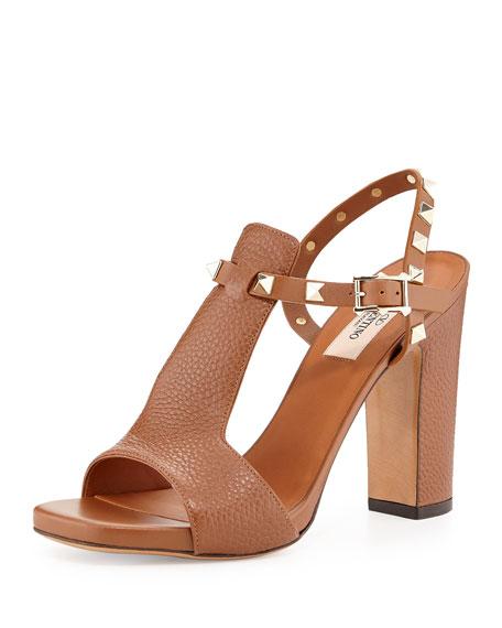 Valentino Rockstud Leather Chunky-Heel Sandal, Tobacco