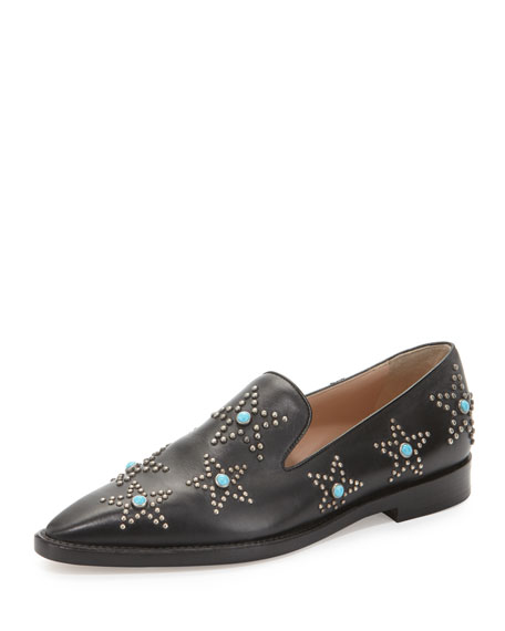 ValentinoStar Cabochon Leather Loafer, Black/Turquoise