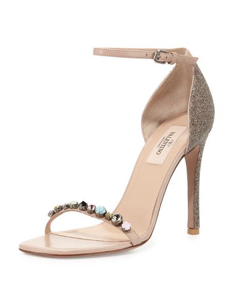 Valentino Embellished Glitter Naked Sandal, Gold