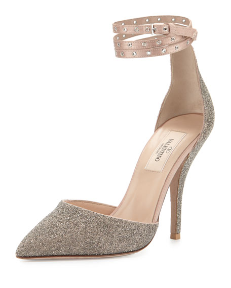 Valentino Glitter Pointed-Toe Ankle-Wrap Pump, Gold