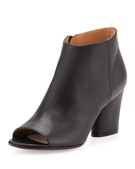 Open-Toe Leather 75mm Bootie, Black