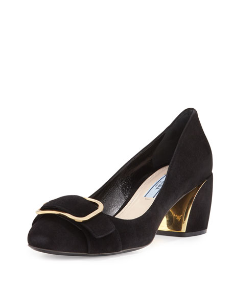 Prada Suede Buckle-Toe 55mm Pump, Nero