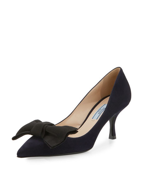 Prada Suede Pointed-Toe 65mm Bow Pump, Bleu/Black