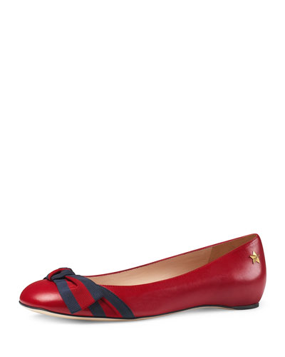 Aline Leather Flat, Red