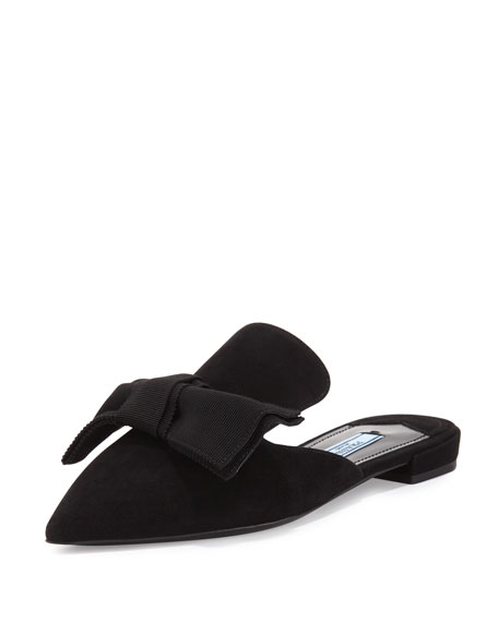 Suede Bow Mule Flat, Nero