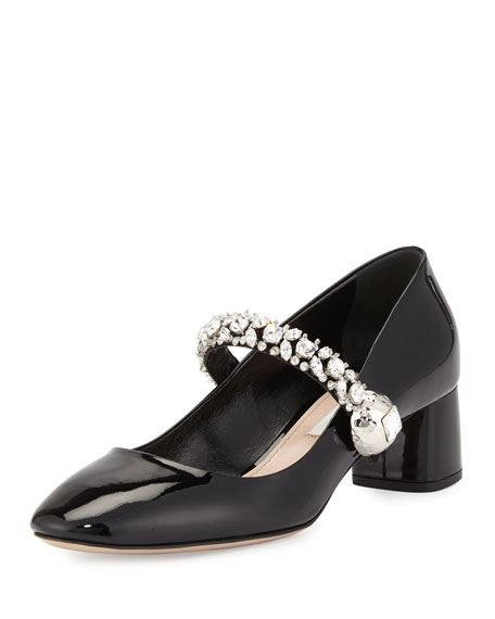 Miu Miu Jewel-Strap Mary Jane Pump, Black
