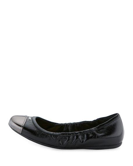 Metallic Cap-Toe Ballerina Flat, Nero/Anthracite