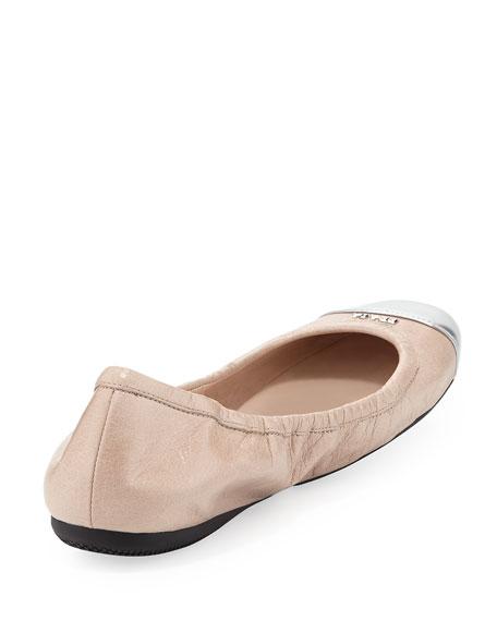 Metallic Cap-Toe Ballerina Flat, Cipria/Argento