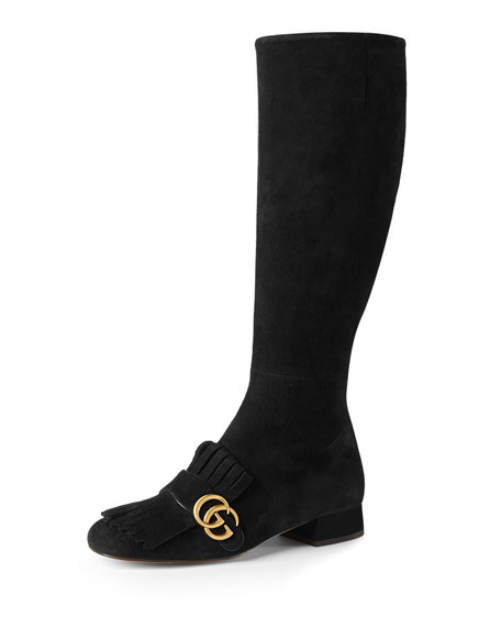 Gucci Marmont Suede 25mm Knee Boot, Black