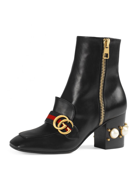 Marmont Logo And Faux Pearl-Embellished Leather Ankle Boots, Black Leather