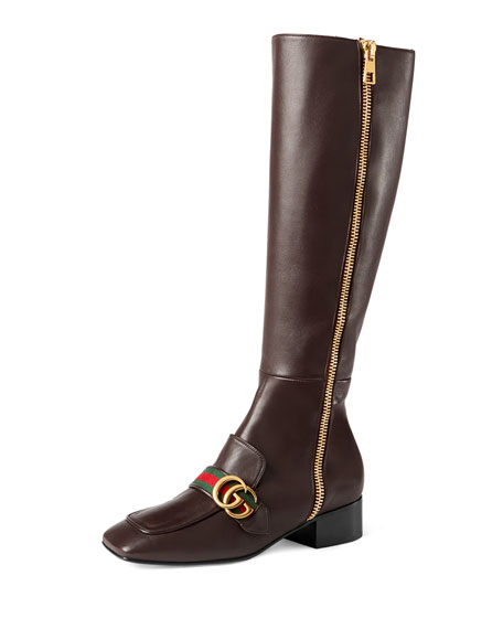Gucci Peyton Leather Knee Boot, Brown