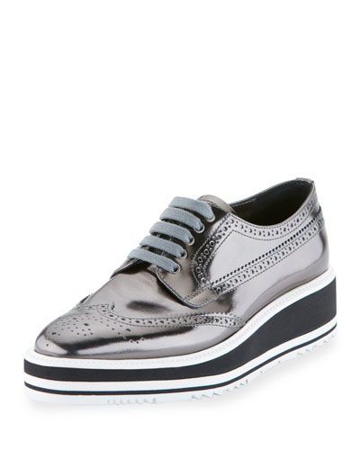 Spazzolato Leather Lace-Up Creeper, Anthracite