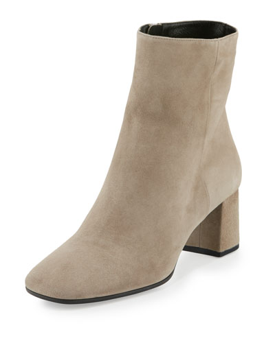 Suede Square-Toe Ankle Boot, Clay (Argilla)