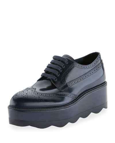 Spazzolato Leather Lace-Up Creeper, Baltico