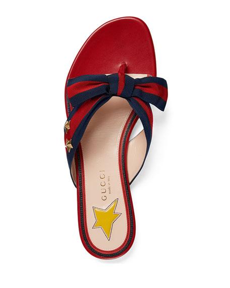 Studded Grosgrain Web Thong Sandal, Red