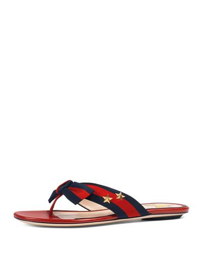 Aline Grosgrain Web Thong Sandal, Red