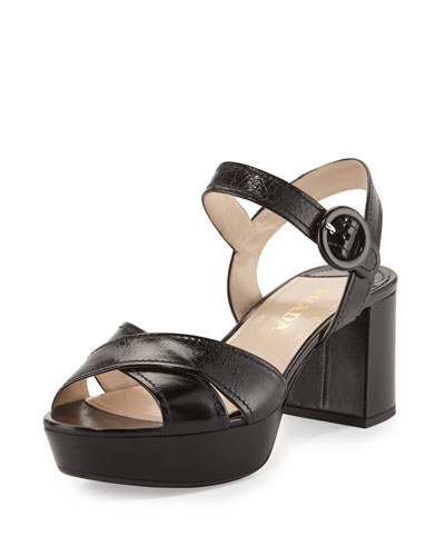 21aaad30549 Prada Crisscross Leather Platform Sandal