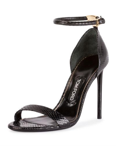 T-Bar Snakeskin Ankle-Strap d'Orsay Sandal, Black