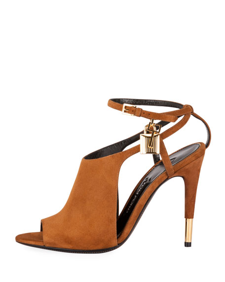 Image 3 of 3: Lock Suede Open-Toe Ankle-Wrap Bootie, Biscuit