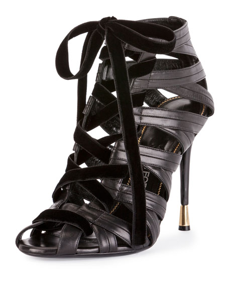 TOM FORD Leather/Velvet Caged Open-Toe Lace-Up Bootie, Black