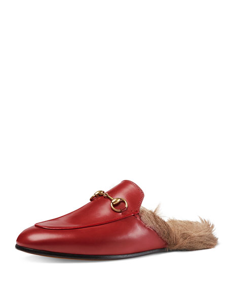 Gucci Princetown Fur-Lined Mule, Red