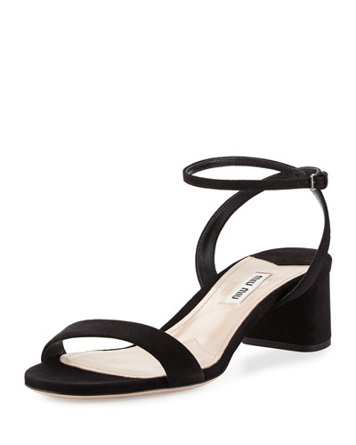 Suede 45mm City Sandal, Nero