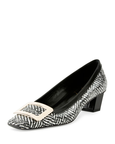 Roger Vivier Belle Vivier Tweed-Print Pump, Black/White